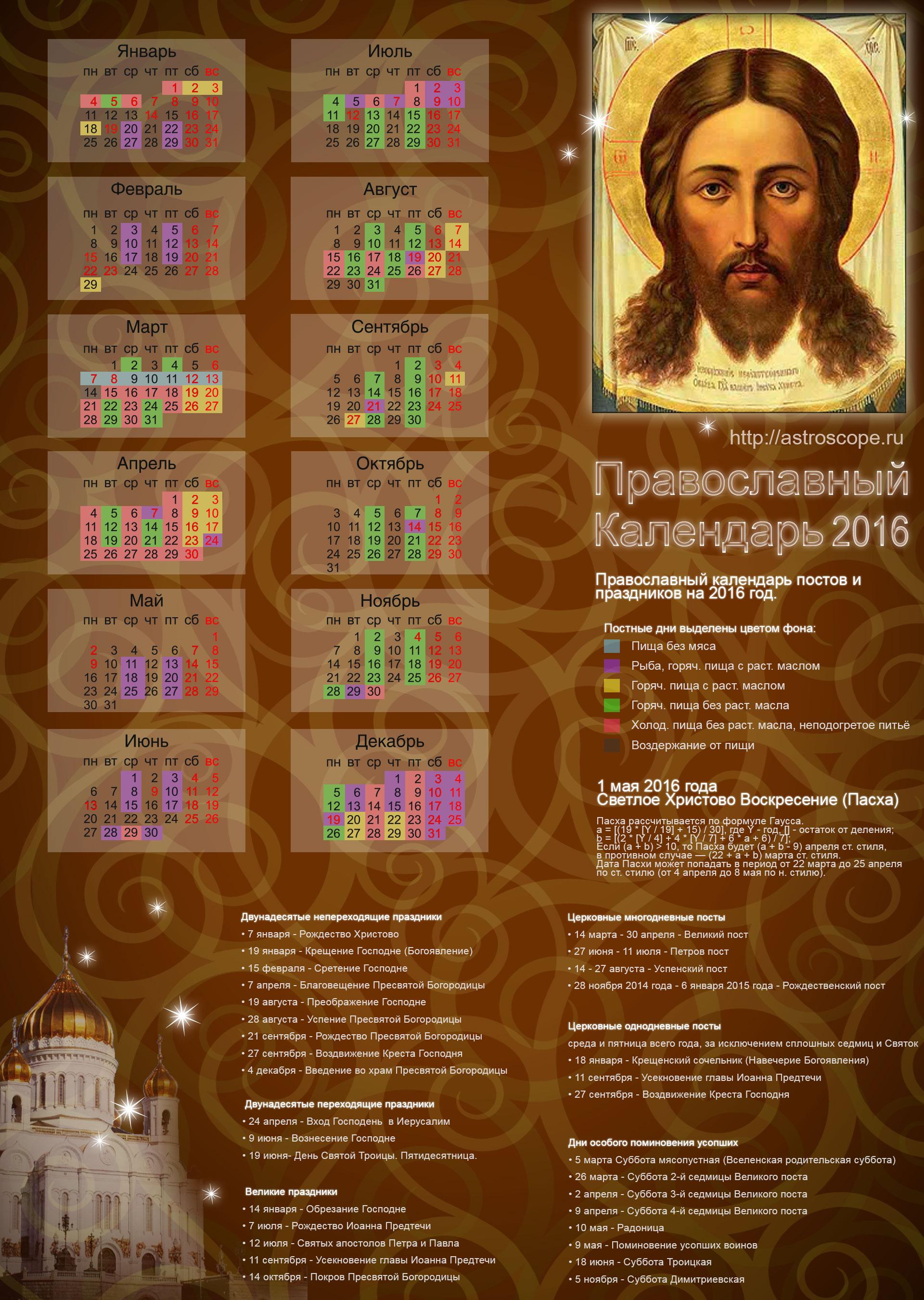 Православный церковный календарь на 2016