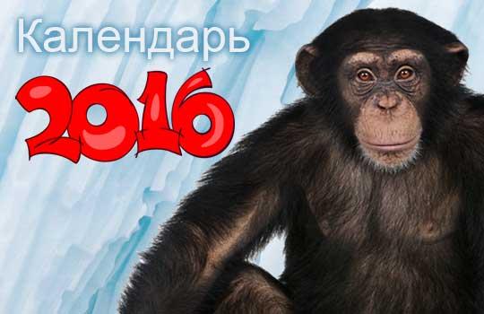 Календарь на 2016 год Обезьяны